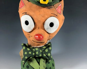 Cleary Orange Cat Leprechaun // Orange // Green // Irish // Succulent Planter // Ceramic Pot // Cat // Adorable // Animal // Small Sculpture