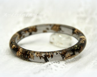 Resin bracelet, Black resin bracelet, Bangle gold flakes, Resin bangle, bracelet of colored resin, gold flakes, Bangle smoky color,