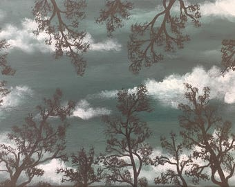"Trees in Moonlight original acrylic painting 10"" x 20"" on stretched canvas."