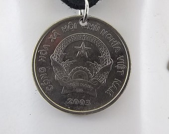 Vietnamese Coin Necklace, 500 Dong, Mens Necklace, Womens Necklace, Coin Pendant, Leather Cord, Birth Year, 2003