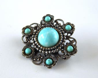 Vintage Faux Turquoise Flower Pin, Southwestern Flower Pin Brooch Turquoise Blue Silver Tone Filigree, Estate Jewelry