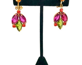 Rhinestone Dangle Clip-on Earrings, Special Occasion, Multi Colored Stones, Fuchsia Olivine Hyacinth & Topaz, Gold Tone Metal, Gift for Her