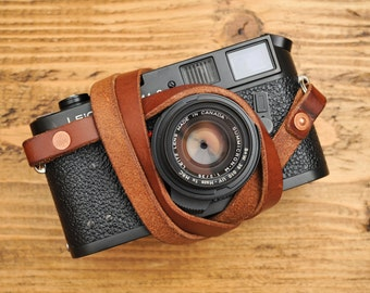 Copper Riveted Thick & Supple Chestnut Leather Camera Strap for the Minimalist Shooter.