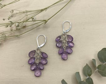 Faceted Amethyst Cluster Earrings, Sterling Silver Fill Lever Backs