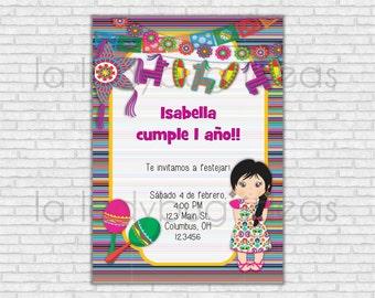 Invitación de cumpleaños fiesta mexicana para imprimir. Invitación cumpleaños niña. Digital e imprimible. Invitación mexicana.