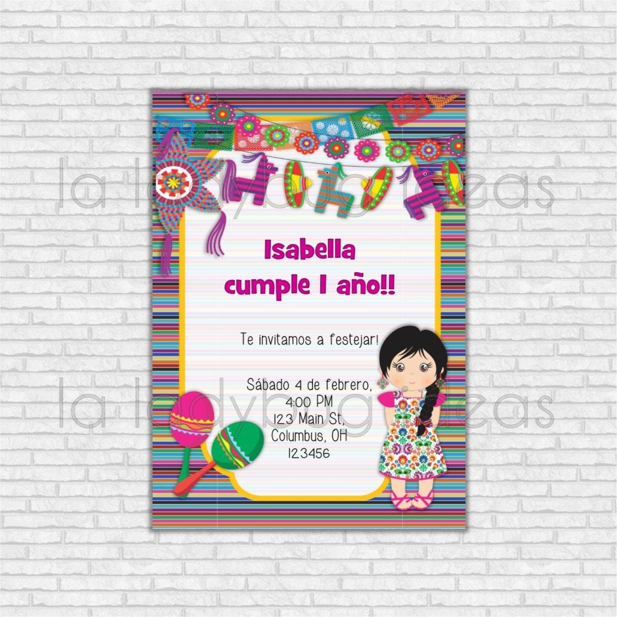 Invitaci n de cumplea os fiesta mexicana para imprimir - Fiestas de cumpleanos para ninas ...
