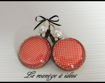 Earrings / sleeper/cabochon, bronze, red, classic chic.