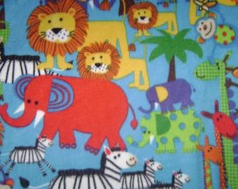 Multi-animal children's fleece blanket
