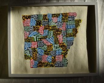 Arkansas Map Wall Art | OH poster | acrylic painting | home decor, map of Arkansas