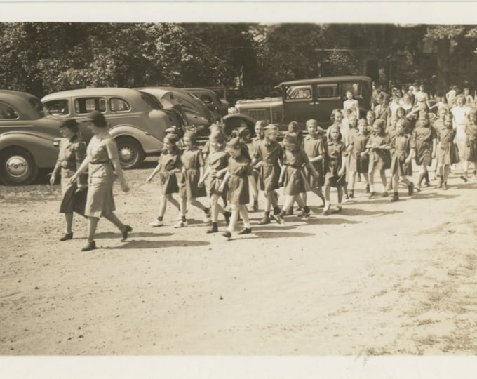 Vintage Snapshot Photo: Young Girl Scouts, 1940s [86689]