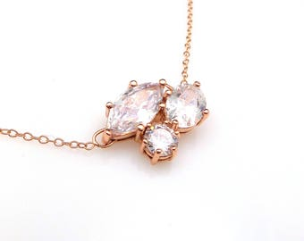 wedding jewelry bridal necklace prom bridesmaid party three multi shape cluster AAA cubic zirconia rose gold plated sterling silver chain