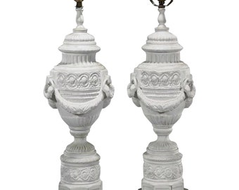 Pair of Antique Bisque Porcelain Lamps