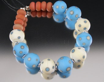 Santa Fe Sweetheart - Handmade Lampwork Glass Bead Set by That Bead Girl - Turquoise, Ivory, Coral