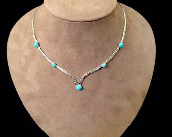 """Vintage Silver Toned NECKLACE Sarah Coventry Costume Turquoise 16"""""""