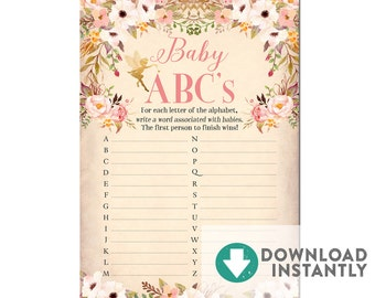 Baby ABC Game // Fairy Baby Shower Game A-Z  // INSTANT DOWNLOAD // Printable No.986BABY