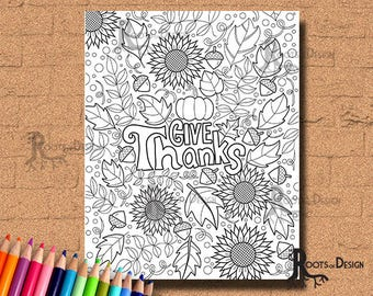 INSTANT DOWNLOAD Give Thanks Coloring Coloring Page Print, doodle art, printable Thanksgiving