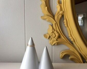 Ceramic Ring Holder. Small. Ring cone. Funsize Ceramics Ring Mountain. Glossy White. Wedding gift.