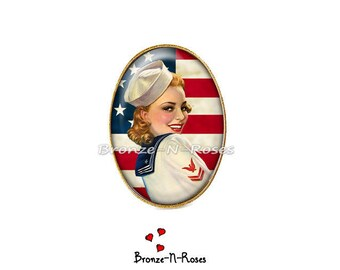 """Ring """"I love America"""" red flag United States pin-up glass cabochon"""