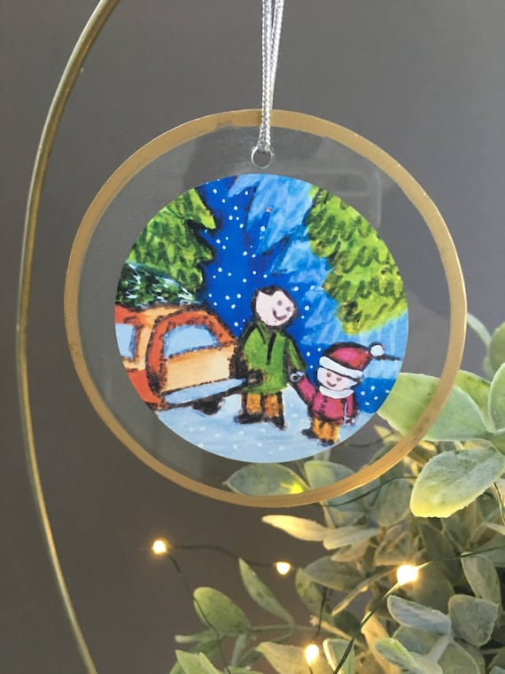 Getting the Tree christmas ornament, father son, father daugher ornament, gift for family, christmas trees, station wagon illustration