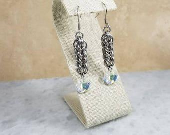 Long Swarovski Chainmaille Earrings