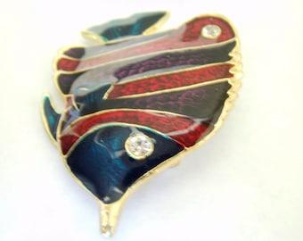 Vintage Nautical Jewelry / Fish Brooch / Pin / Rhinestone Brooch / Pin / Beach Jewelry / Fish Jewelry / Rhinestone Jewelry /