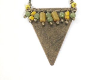 "Necklace geometric and ethnic ""Senja"" yellow and khaki with triangle and seed bead charm."