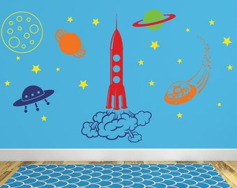 Outer space wall decal, Playroom wall decal, Space wall mural, Boys wall decal, Rocket ship wall decal, Space aliens, Boys room decor DB356