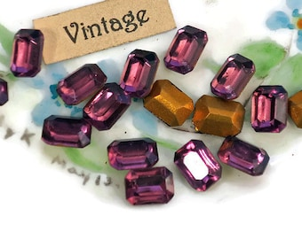 Vintage Octagon Amethyst Rhinestones 6x8mm Faceted Gold Foil NOS Stones Purple Pointed Back Purplevoilets77 N1239SQ
