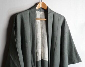 Men's kimono jacket - silk - Japanese vintage - plain dark brown - light weight - WhatsForPudding #2202 7A6HrR