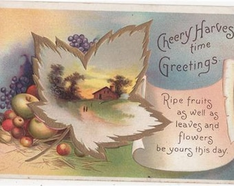 Ellen H CLAPSADDLE Vintage Artist Signed Postcard Cheery HARVEST Time International Art Pub