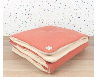 Two-tone quilt Terracotta / Nude for baby bed