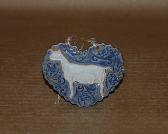 Handmade Stoneware Ornament~Saanen Doe in Blue