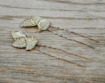 Vintage Leaf Hair Pins - Leaf Bridal Pins - Wedding Hair Pins - Bridal Hair Pins - Vintage Bridal Hair Accessories - Vintage Bridal