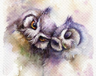 """PRINT – Be Together  Watercolor painting 5x7"""""""