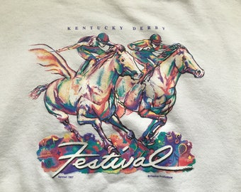Vintage 1997 Kentucky Derby sweatshirt Churchill Downs 90s Horse Racing XL White Festival