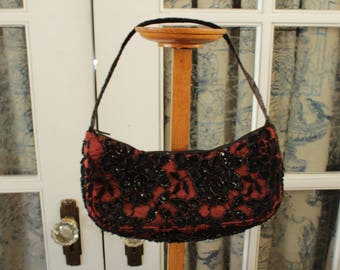 Black and Red Beaded Soiree Purse