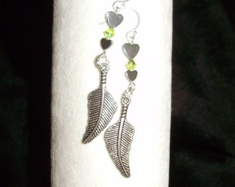 Hematite Hearts Feathers and Crystal Swarovski Earrings
