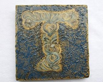 "Personalized Letter ""T"" on Wood Block--Original Handpainted--Monogram--Initial--Letter Art--Modern Textured--Wall Art Decor."