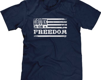 Drunk On Freedom Mens Short Sleeve -America Merica Party Friends Family Pool BBQ Drinks Beer Drunks Love Happy -DT-01396