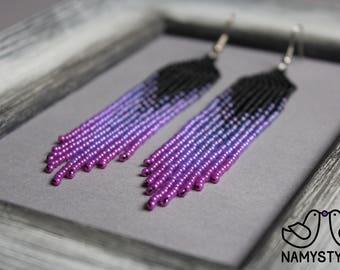 Ultra Violet earrings Style women earrings Long earrings Beadwork jewelry Purple earrings Fringe earrings Beaded earrings Seed bead earring