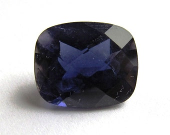 12x10mm Iolite Cushion Cut Checkerboard Top Loose Gemstone of 4.62 carats