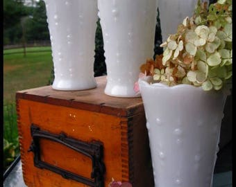 Vintage Milk Glass Collection of Four Vases