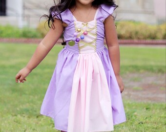 RAPUNZEL costume, princess dress, Rapunzel dress, toddler princess dress, garden party dress, Disney princess dress, handmade dress