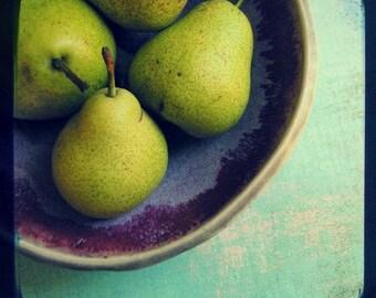 """Pear still life print, food photograph, kitchen decor, aqua kitchen wall art, teal purple green wall art 10x10 """"Little Pears"""""""