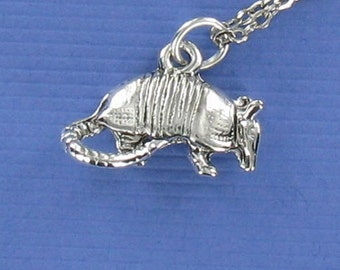 ARMADILLO Necklace - Pewter Charm on a FREE Plated Chain