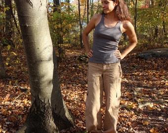 organic hemp tank top / undershirt - 100% hemp and organic cotton - hand dyed in deep pewter gray - extra small