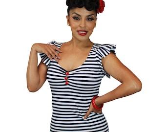 Pinky Pinups Navy/White Striped Ruffle Top