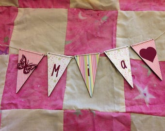 Personalised wooden bunting for boys, girls or any message