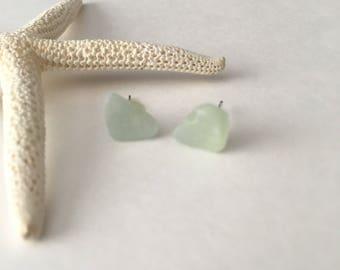 Seashell Jewelry ... Mint Sea Glass - Ocean Glass - Stud Earrings (1771)
