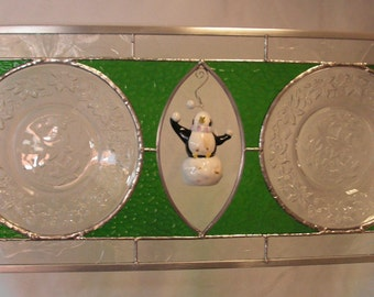 Leaf Design Plates set into Stained Glass Panel, Open Center for  Collectible Display